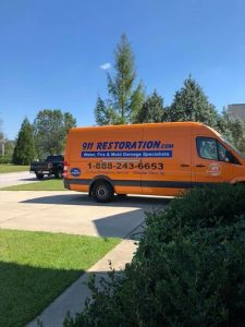 Fire and Smoke Restoration Van At Residential Property